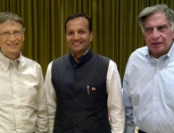 <h5>Naveen Jindal with Mr. Bill Gates and Mr. Ratan Tata</h5>