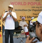 <h5>Addressing the public during World Population Day</h5>